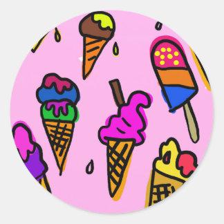 Adesivo Redondo Papel de parede do sorvete