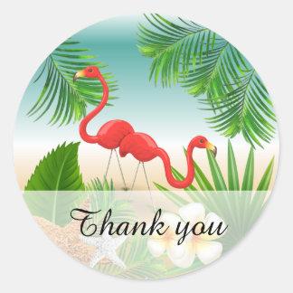 Adesivo Redondo Paraíso tropical com flamingos