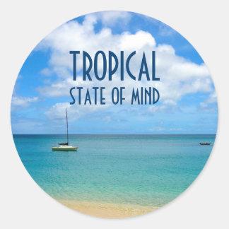 Adesivo Redondo Paraíso tropical da foto da praia