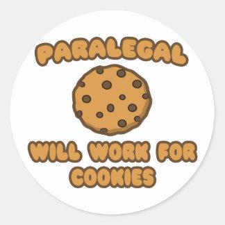 Adesivo Redondo Paralegal. Trabalhará para biscoitos