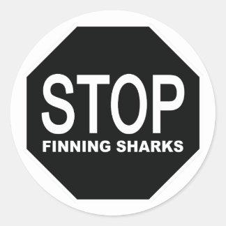 Adesivo Redondo Pare o sinal dos tubarões de Finning