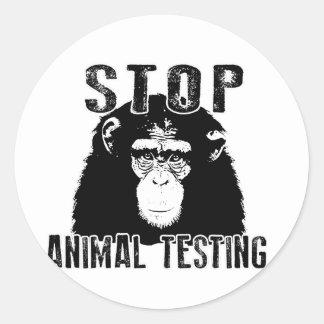 Adesivo Redondo Pare o teste animal - chimpanzé