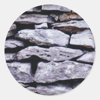 Adesivo Redondo parede empilhada da rocha