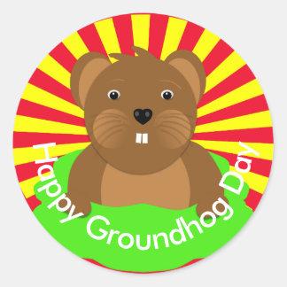 Adesivo Redondo Partido feliz da celebração do dia de Groundhogs