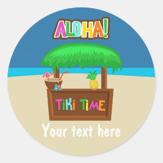 Adesivo Redondo Partido havaiano de Luau dos miúdos