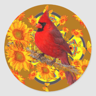 Adesivo Redondo pássaro cardinal vermelho