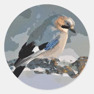 Adesivo Redondo Pássaro de Jay no inverno
