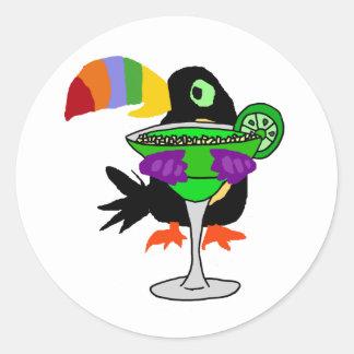 Adesivo Redondo Pássaro engraçado artística de Toucan que bebe