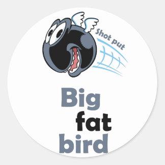 Adesivo Redondo Pássaro psto tiro gordo grande
