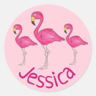 Adesivo Redondo Pássaro tropical personalizado da ilha do flamingo
