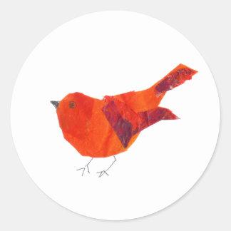 Adesivo Redondo Pássaro vermelho bonito do dia dos namorados