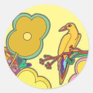 Adesivo Redondo Pássaros lunáticos (alguma cor que você escolher!)
