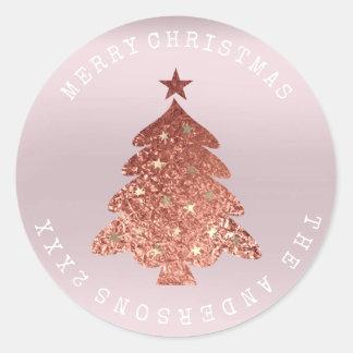 Adesivo Redondo Pastel cor-de-rosa da lavanda do ouro da árvore do