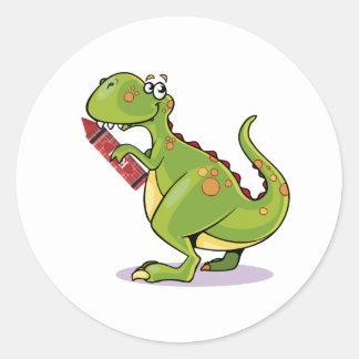 Adesivo Redondo Pastel vermelho grande da sagacidade do dinossauro