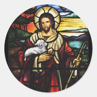 Adesivo Redondo Pastor de Jesus com seus carneiros