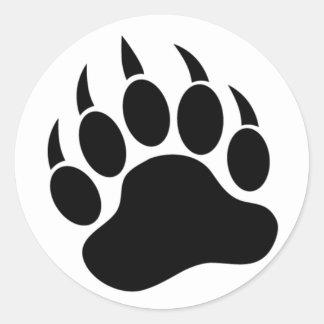 Adesivo Redondo Pata de urso/garra clássicas em preto e branco -