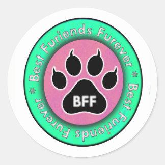 Adesivo Redondo Pata do gato: BFF
