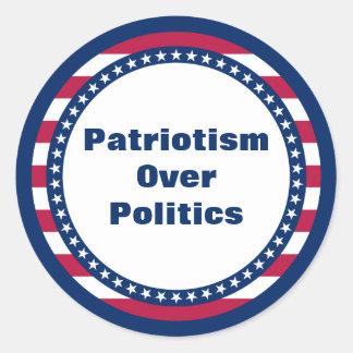 Adesivo Redondo Patriotismo da bandeira dos Estados Unidos sobre a