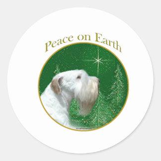 Adesivo Redondo Paz de Sealyham Terrier na terra