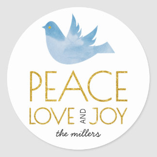 Adesivo Redondo Paz do ouro, amor, Natal da pomba do azul da