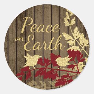 Adesivo Redondo Paz em pássaros da floresta da terra