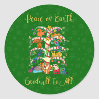 Adesivo Redondo Paz na árvore animal bonito da terra do feriado da