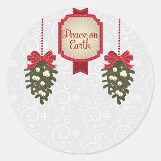 Adesivo Redondo Paz na terra este Natal