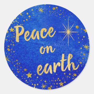 Adesivo Redondo Paz no azul e no ouro do Natal da terra