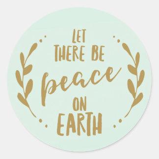 Adesivo Redondo Paz no selo do feriado da terra, da hortelã e do