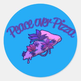 Adesivo Redondo Paz sobre a pizza