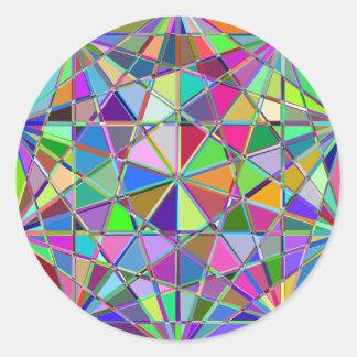 Adesivo Redondo Pedra de gema tirada Kaleidescope colorida