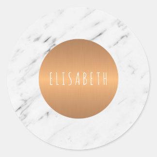 Adesivo Redondo Pedra de mármore branca com círculo de cobre seu