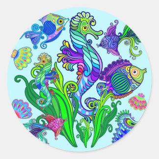 Adesivo Redondo Peixes exóticos & cavalos marinhos da vida marinha