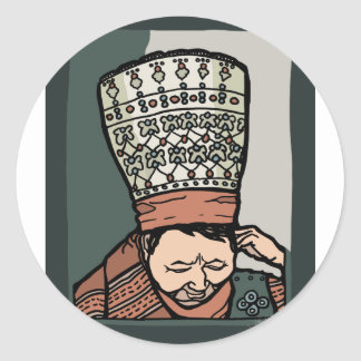Adesivo Redondo Pensamento asiático central da mulher (no chapéu)