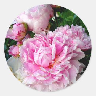 Adesivo Redondo Peônias cor-de-rosa e brancas