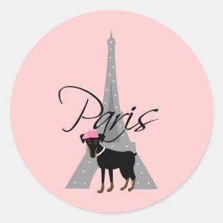Adesivo Redondo Pequeno chien à Paris do Le