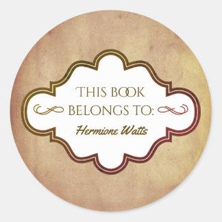 Adesivo Redondo Pergaminho personalizado do vintage do Bookplate