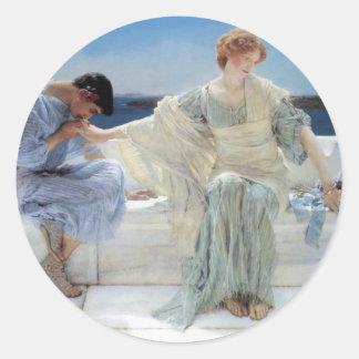 Adesivo Redondo Pergunte-me não mais por Alma Tadema, romanticismo