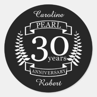 Adesivo Redondo Perolize o 30o aniversário de casamento 30 anos