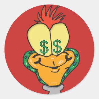 Adesivo Redondo Personagem de desenho animado do sinal de dólar