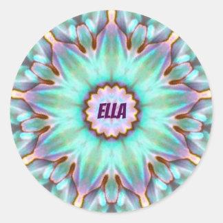 Adesivo Redondo ~ personalizado ~ do Fractal de ELLA Paua Shell