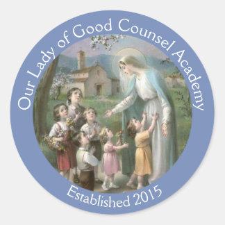 Adesivo Redondo Personalize a Virgem Maria abençoada com crianças