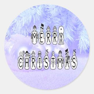 Adesivo Redondo Pessoas da pia batismal da neve do Feliz Natal,