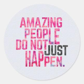 Adesivo Redondo Pessoas surpreendentes das citações inspiradores