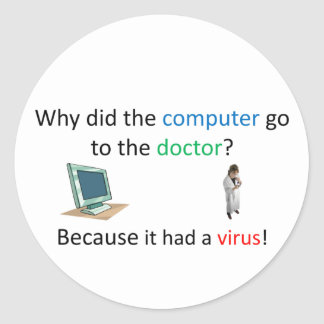 Adesivo Redondo Piada do vírus de computador