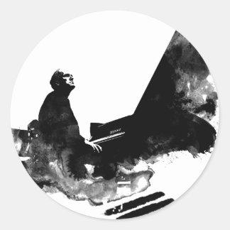 Adesivo Redondo pianista