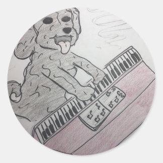 Adesivo Redondo piano do filhote de cachorro