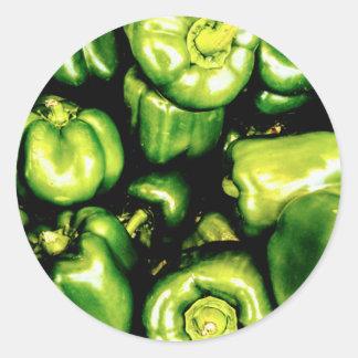 Adesivo Redondo Pimentas de Bell verdes