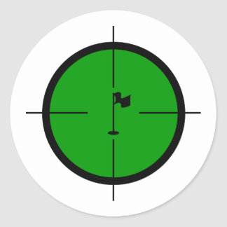 Adesivo Redondo Pin do golfe nos Crosshairs
