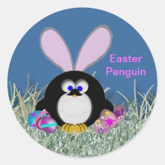 Adesivo Redondo Pinguim da páscoa